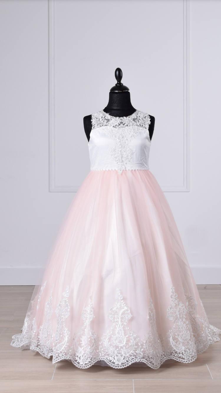 Robe Princesse rose et blanche.