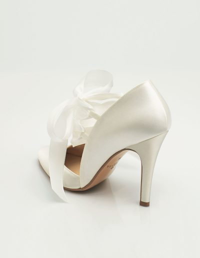 chaussures de mariée en satin et ruban ivoire