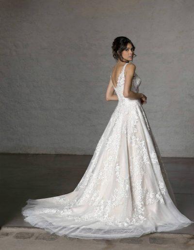 robe de mariée dentelle et tulle nude